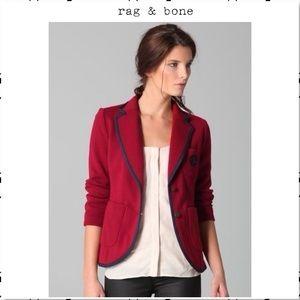 Rag and Bone Bromley Crest Button Blazer Red M